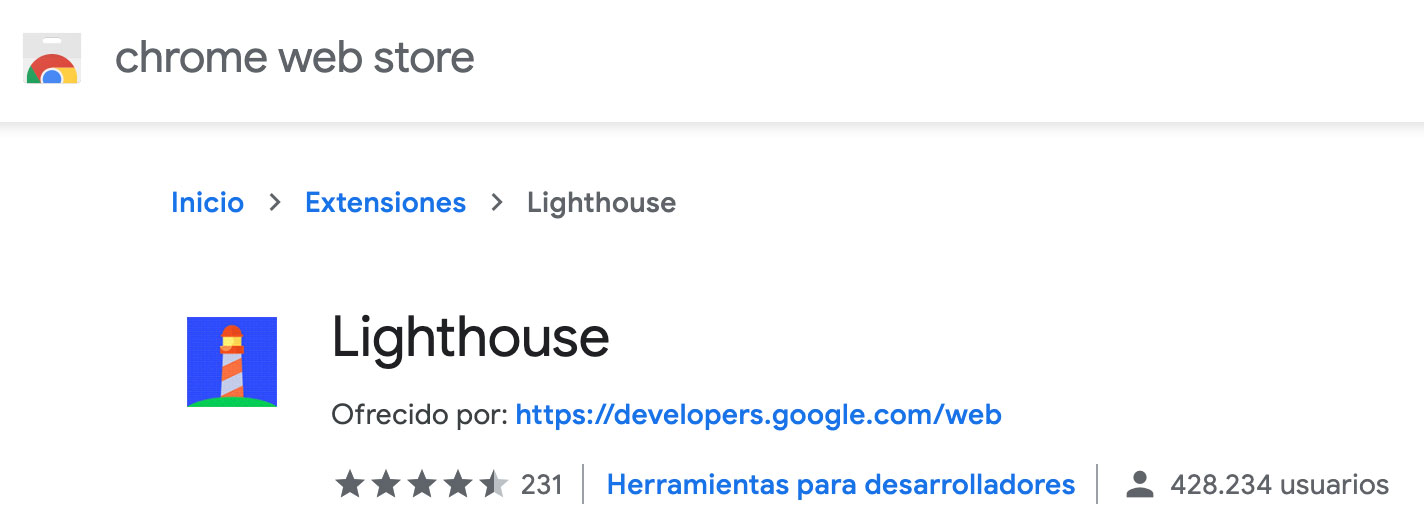 Extensión Lighthouse en Google